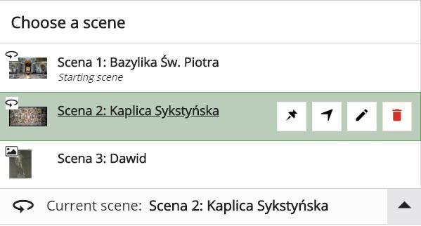 zakładka Choose a scene z listą trzech scen
