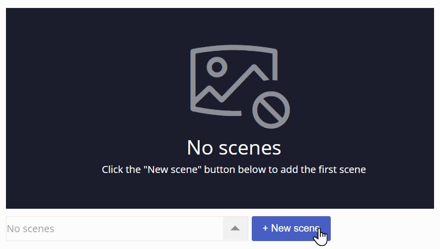 przycisk New Scene, a nad nim obszar, na którym tworzy się nowa scena
