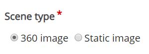 zakładka Scene type z wyborem opcji 360 image i Static image