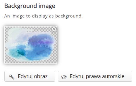 zakładka Background Image z dodaną grafiką chmurki i znajdujące się pod nią przyciski Edytuj obraz i Edytuj prawa autorskie