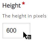 zakładka Height z wpisaną wartością 600 pixeli